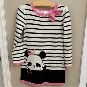 Gymboree Panda Print Girls Sweater Dress 4T